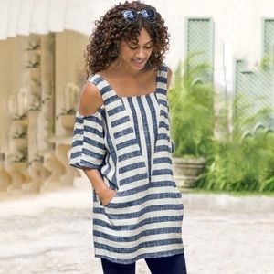 Soft surroundings gauze cold shoulder striped suns